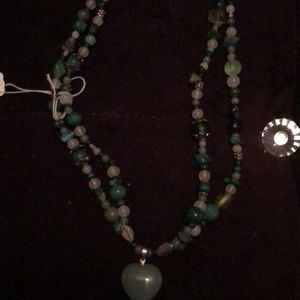 Glass and Jade heart double necklace